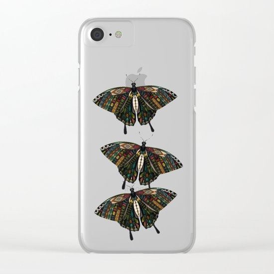 swallowtail butterfly teal Clear iPhone Case