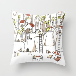 Forest animals waiting for the holidays Throw Pillow