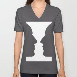 Heads or vase Optical illusion Unisex V-Neck