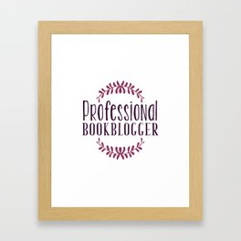 Professional Bookblogger - White w Purple Framed Art Print