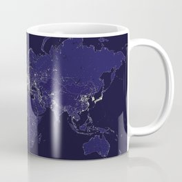 The world map at night with outlined countries Coffee Mug