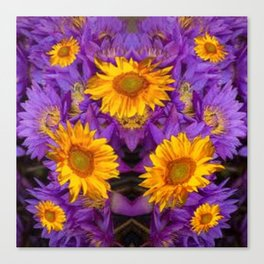 YELLOW SUNFLOWERS AMETHYST FLORALS Canvas Print
