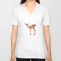 drawing V-neck T-shirts featuring Fawn by Amy Hamilton