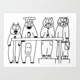 A busy morning at the MIYLK bar! Art Print