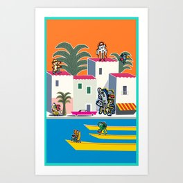 French Riviera Summer with Cool Graffiti Street Art Monsters Art Print