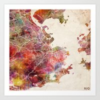 rio de janeiro Art Prints featuring Rio de Janeiro by MapMapMaps.Watercolors