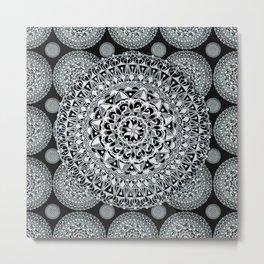 Silver on Black Patterned Mandalas Metal Print
