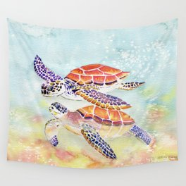 Swimming Together - Sea Turtle Wall Tapestry