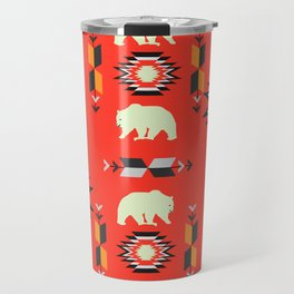 Tribal decor with bears in red Travel Mug