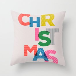 Christmas colorful typography Throw Pillow