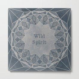 Wild Spirit Mandala blue and gray tones with a grunge texture Metal Print