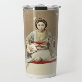 Geisha Playing Samisen, hand–colored albumen silver print from Japan Travel Mug