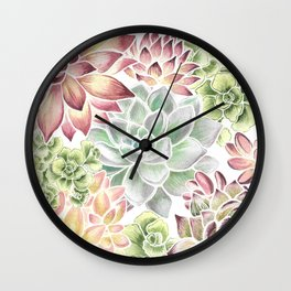 Bright Watercolor Succulents Wall Clock