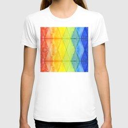 Geometric Abstract Rainbow Watercolor Pattern T-shirt