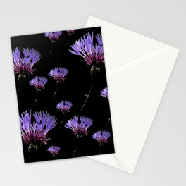 Cornflowers on black Stationery Cards