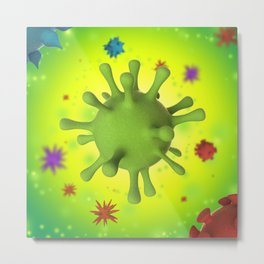 3D Virus - Multicolor Metal Print
