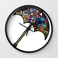mary poppins Wall Clocks featuring Mary Poppins by Ilse S