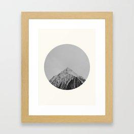 Mid Century Modern Round Circle Photo Grey Minimalist Monochrome Snow Mountain Peak Framed Art Print