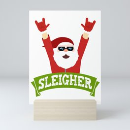 sleigher, santa christmas, xmas, heavy metal, rocker, rock n roll Mini Art Print