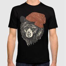 zissou the bear Mens Fitted Tee Black MEDIUM