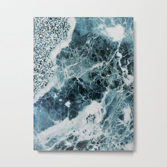 Blue Sea Marble Metal Print