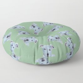 Pit Bull Terrier Puppy Portrait Pattern on Green Floor Pillow