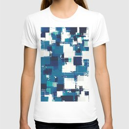 geometric square pattern abstract background in blue T-shirt