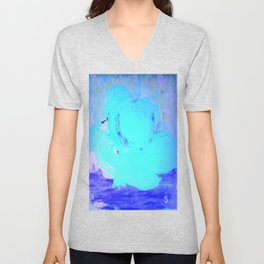 Neon Winter Rose, Abstract In Nature, Ice Blue Unisex V-Neck