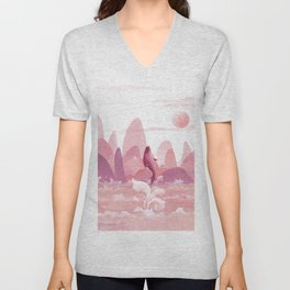 Fly Dolphin In The Sky Unisex V-Neck