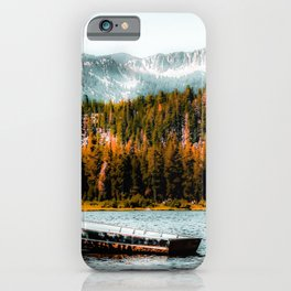 boat on the lake with pine tree and mountain background at Mammoth Lakes, California, USA iPhone Case