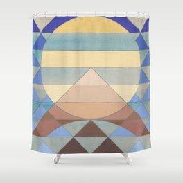 Pyramid Sun Turquoise Shower Curtain
