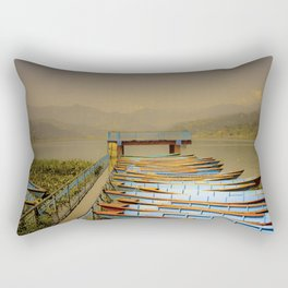 Boats on Phewa Lake, Pokhara, Nepal Rectangular Pillow