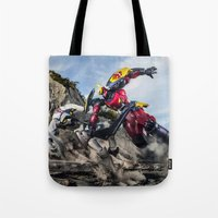 gurren lagann Tote Bags featuring gurren battle by romar