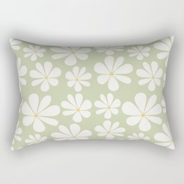 Floral Daisy Pattern - Green Rectangular Pillow