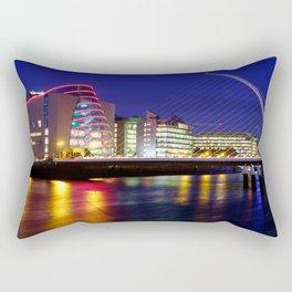 The Convention Centre Dublin, Samuel Beckett Bridge and the River Liffey at dusk in Dublin, Ireland. Rectangular Pillow