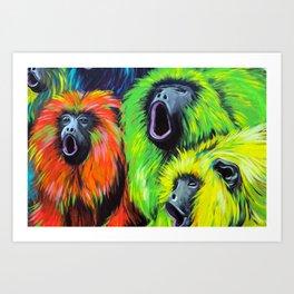 Urban Street Art: Screaming Fluorescent Monkeys Art Print