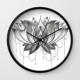 Zentangle Lotus Mandala Wall Clock