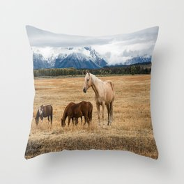 Mountain Horse - Western Style in the Grand Tetons Throw Pillow