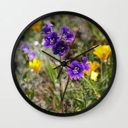 Dark Violet Phacelia Wildflowers Wall Clock