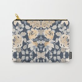 Boho Floral Pattern, Indigo Blue, Blush and Pale Yellow Carry-All Pouch