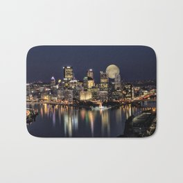 Moon Rise Over Pittsburgh Bath Mat