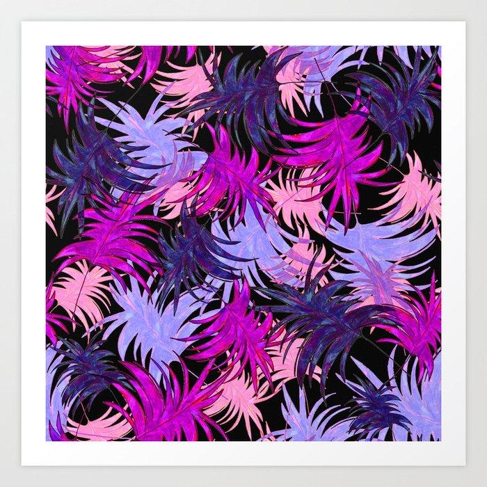 Tropical Leaves lila, pink, rose Art Print