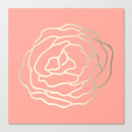 Flower in White Gold Sands on Salmon Pink Canvas Print