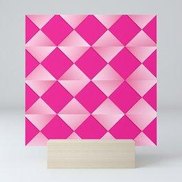 Mid-Century Satin Diamonds, Shades of Fuchsia Pink Mini Art Print