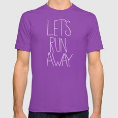 Let's Run Away by Laura Ruth and Leah Flores Ultraviolet MEDIUM Mens Fitted Tee