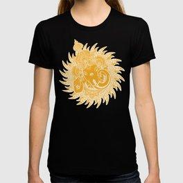 Ganesha Lineart Yellow White T-shirt