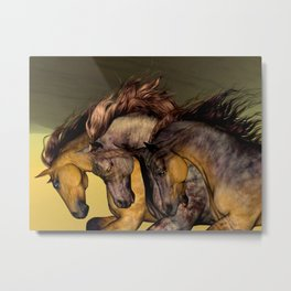 HORSES-Gunmetal Metal Print