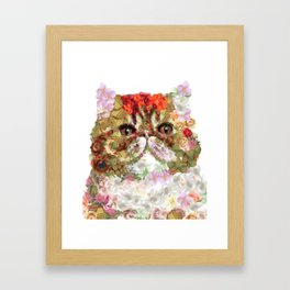 Portrait of a Persian cat, illustrated by hand painted flowers.DISCOVER Framed Art Print