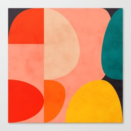geometry shape mid century organic blush curry teal Canvas Print