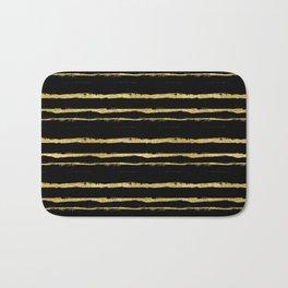 Golden Stripes on Black Background Bath Mat